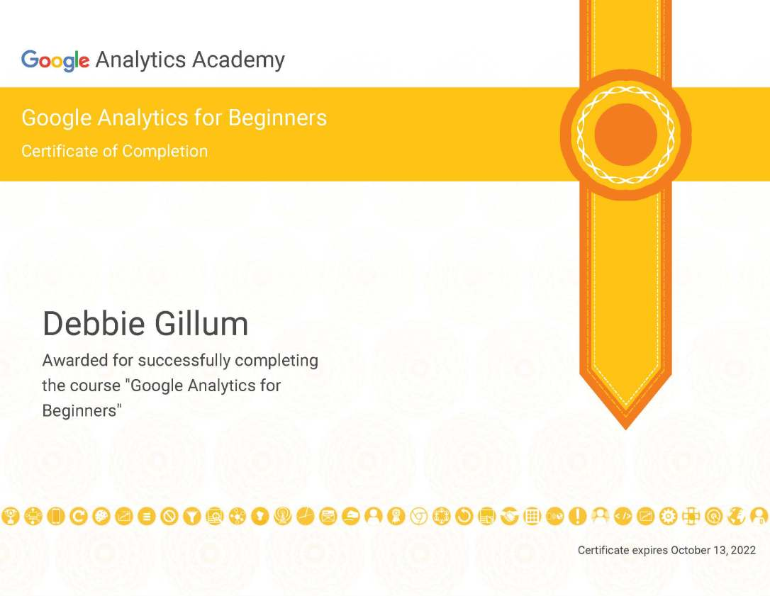 Google Analytics for Beginners Certificate of Completion