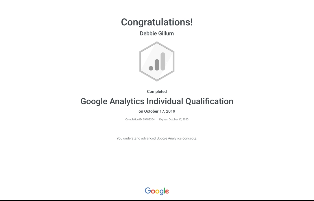 Debbie Gillum Google Analytics Individual Qualification certificate