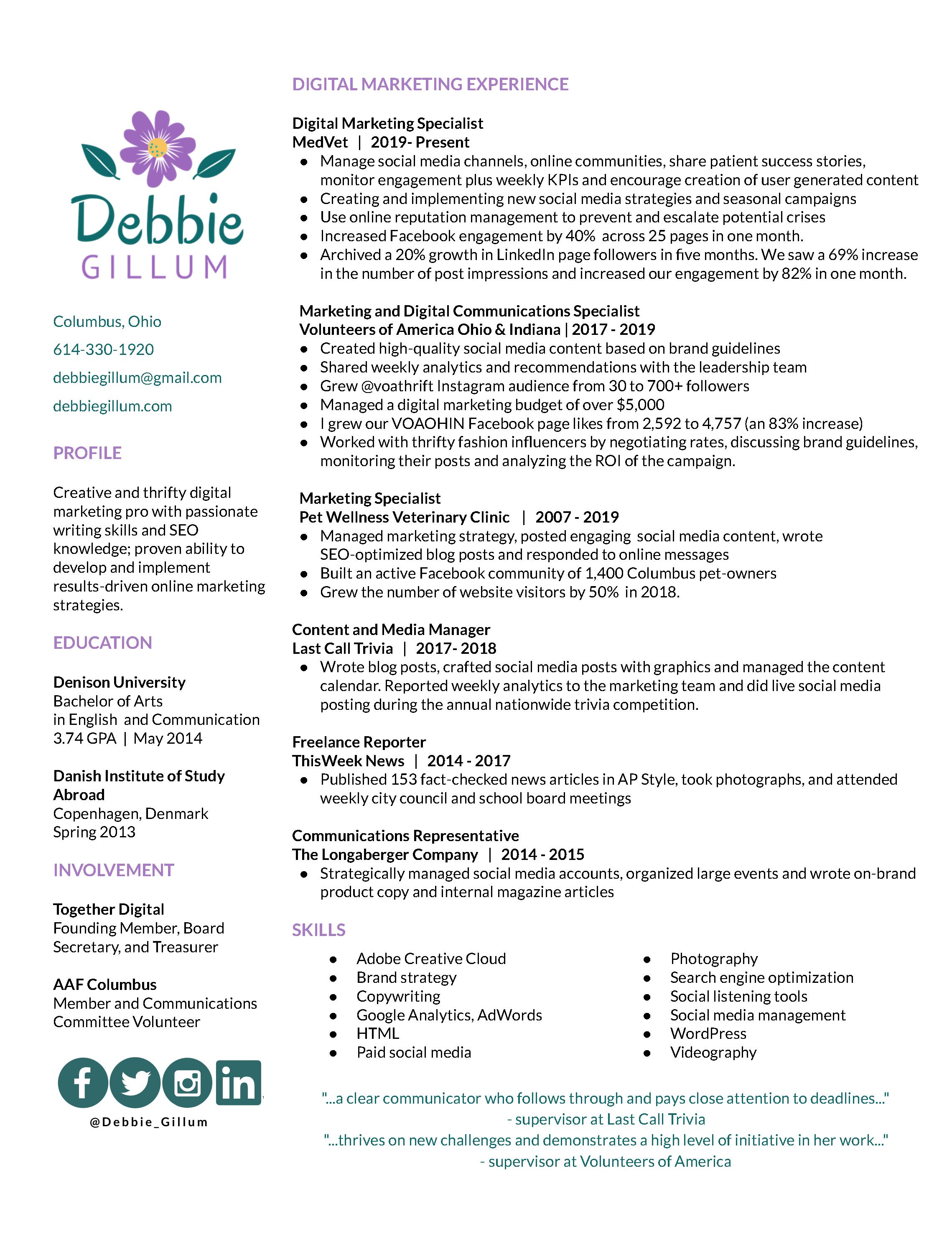 Debbie Gillum Digital Marketing Social Media Resume
